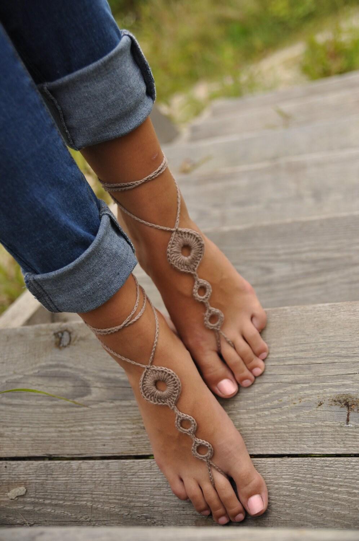 Crochet Tan Barefoot Sandals Brown Nude Shoeswedding Foot