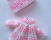 Vintage Doll dress Small pink knit set Vintage 80s Made in Hong Kong Tag Great Condition Matching Hat