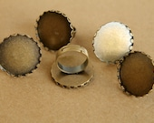 CLOSEOUT - 6 pc. Round Antique Bronze Ring Bezel Setting with Lace Edge, 25mm diameter | FI-044