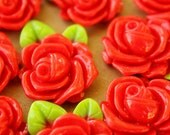 CLOSEOUT - 6 pc. Rose with Leaves Cabochons 32mm x 23mm | RES-368