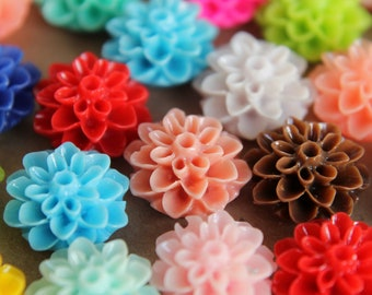 30pc. Multi-Colored Dahlia Flower Cabochons 15mm | RES-040
