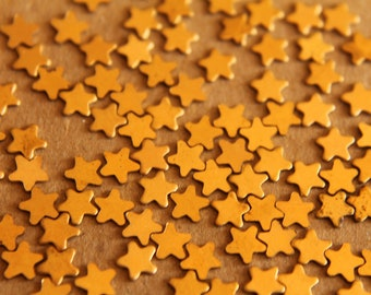 40 pc. Tiny Raw Brass Stars: 5mm by 5mm - made in USA - RB-052