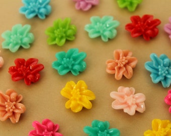 CLOSEOUT - 20 pc. Multi-Colored Lily Cabochons 14mm x 11mm | RES-101