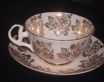 golden roses vintage Royal Grafton bone china cup and saucer set