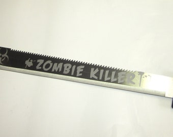 Zombie Killer Machete: Etched Zombie Survival Machete No Personalization or Customization