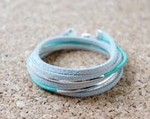 Roster Bracelet - Mint Green/White/Silver/Leather/Simple/Magnetic Clasp