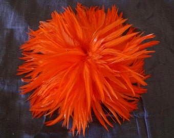 Bright Orange Rooster Hackle Feathers Wholesale Supply Craft Design Costume Bulk Lot