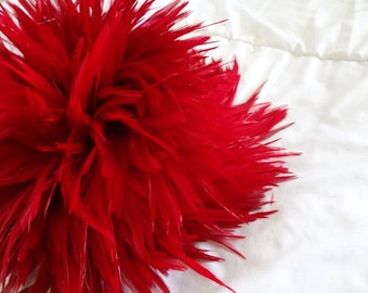 Ruby Red Chinese Strung Rooster Saddle Feathers Wholesale Supply Bulk Lot Hair Extensions Craft Design Costume Earrings Christmas