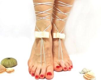 Barefoot sandal, BOW, White Barefoot Sandles, Wedding Anklet,  White barefoot sandal, Wedding, yoga, lolita, wedding barefoot sandal