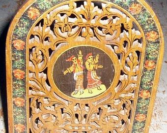 Vintage Candle Holder, Wood, Marble, Moroccan, Brown, Ornate Candle Holder, Carved Wood