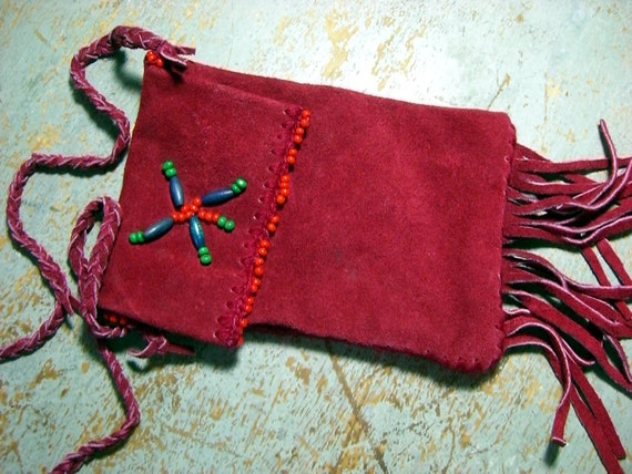 Vintage Purse, Red Suede Pouch, Fringed Hand Bag, Beads