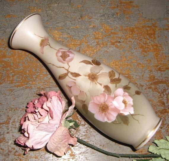 """Vintage Vase, Floral, Hummelwerk, """"Victorian Garden"""", Dogwood, Beige, Pink, Porcelain, Pink Blossoms"""