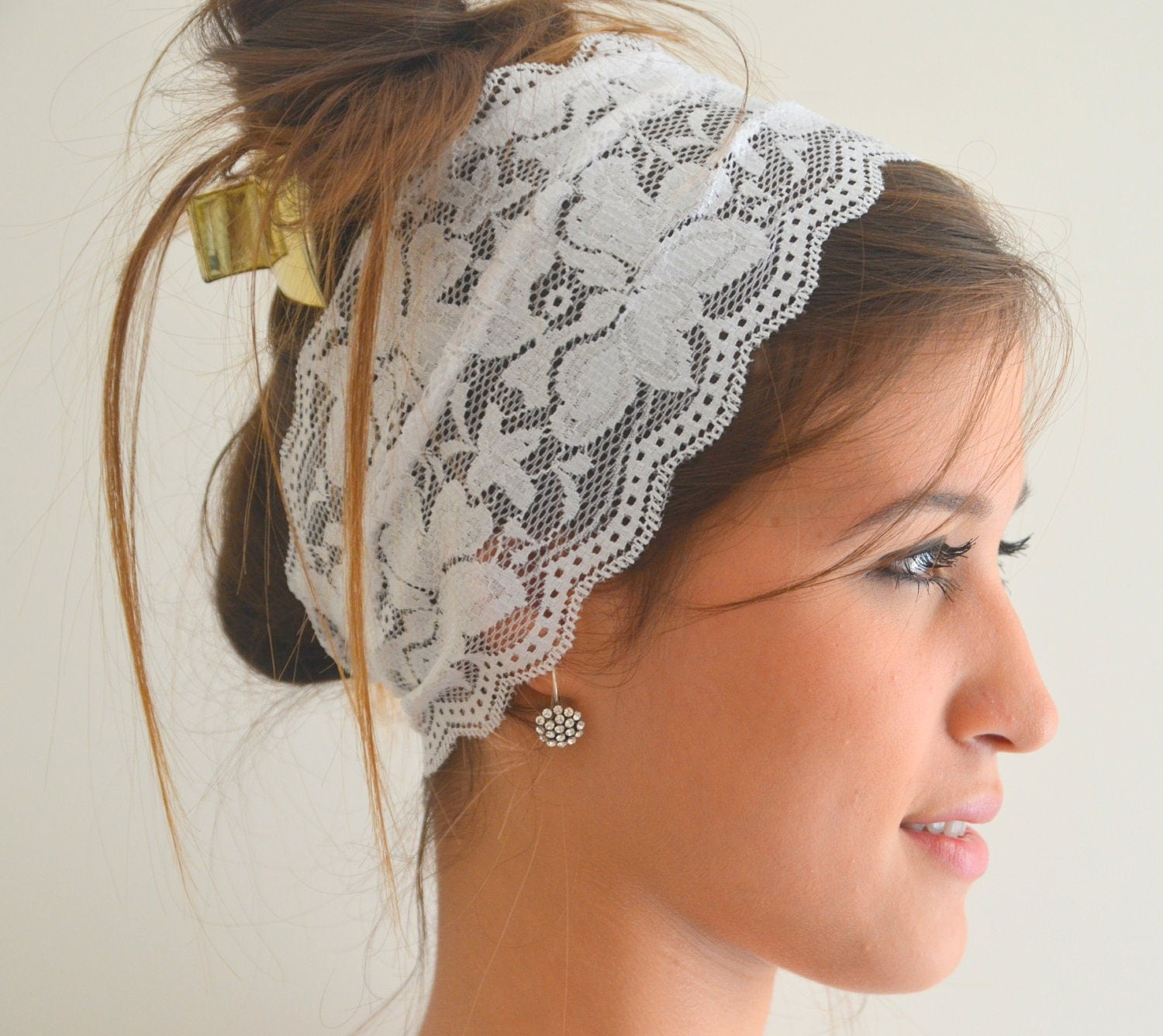 Stretchy Wedding Bands >> BS-5714 White lace headband stretchy hair band wedding by bstyle
