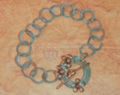 Aqua Turquoise Patina Round Link Chain, Bracelet, Gold Floral Embellished Toggle