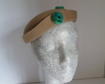 SALE    Winter  Hat -  Brown - Cocktail Hat - Green Felt  Decoration