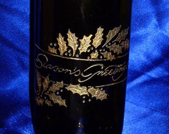 Carved wine bottle - customize message or design