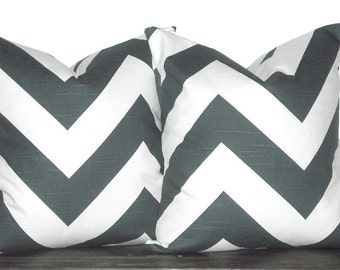 "Set of 20"" Chevron Zig Zag Pillows- 20 x 20 Inch Charcoal and White Chevron Pillow Covers - TWO PILLOW COVERS"