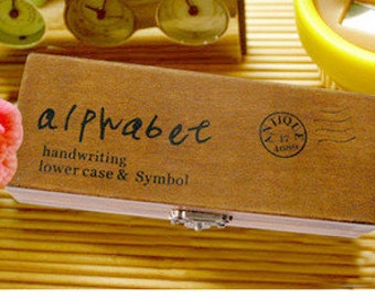 Alphabet Stamp Set - Wooden Rubber Stamp Set  - Rubber Stmaps - Stamps - Lowercase(Handwritten Form) - 42pcs