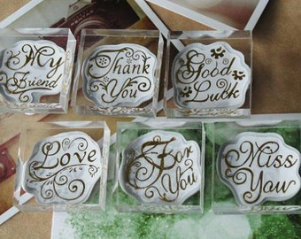 Hardcover Crystal Stamp Set  - Blessing Stamp Set - Diary Stamps - Rubber Stamps - 6 pcs in