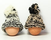 Knitted Egg Cosy Black Cream Beige Set of 2