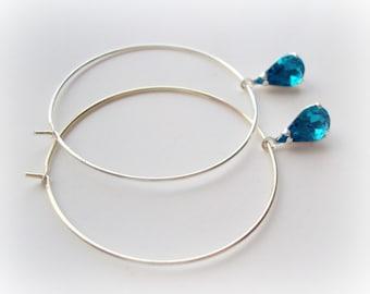 Sky blue crystal teardrop dangle earrings, icing blue silver hoop earrings, winter collection, simple everyday jewelry