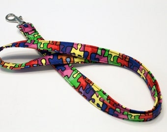 Fabric Lanyard ID badge holder - Great Teacher Gift, Nurse, Student, Coach lanyard - Puzzled