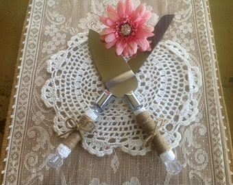 Rustic Wedding Cake Servers, Rustic Cake Knife, Burlap and Lace Serving Set