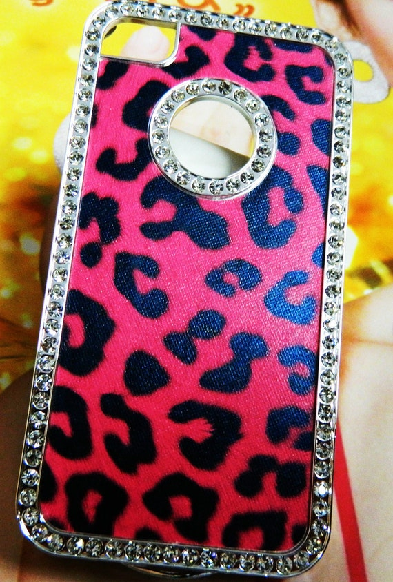 iPhone 4 and iPhone 4S Hot Pink Leopard Print with Silver crystals bling outline case