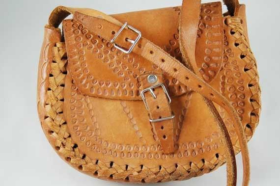 Vintage Hand-Tooled Leather Bag...