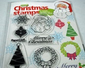 Acrylic Stamp Set -  Christmas - Acrylic Stamps - Never Opened - Santa, Snowflake, Ornament, Tree, Wreath for Scrapbooking. Cardmaking