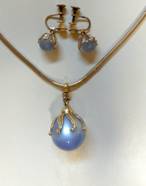 Blue Moonstone 1930s Necklace and Earrings S.O.B. Bigney