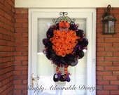 Deco Mesh Pumpkin Man Wreath Design