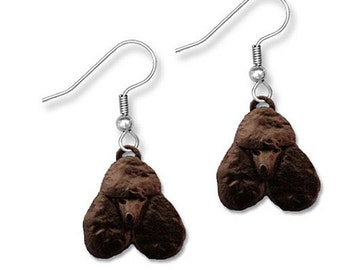 Enamel Black Poodle Earrings