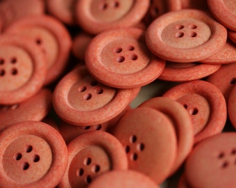 5 x 22mm Orange Eco-Buttons made from recycled materials