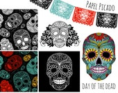 Sugar Skull Digital Pictures, Day of the Dead Clip Art, digital papers, Halloween, Papel Picado - Personal and Small Commercial Use.