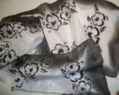 Black and White Hibiscus Flowers Hand Painted Silk Scarf 11 x 60