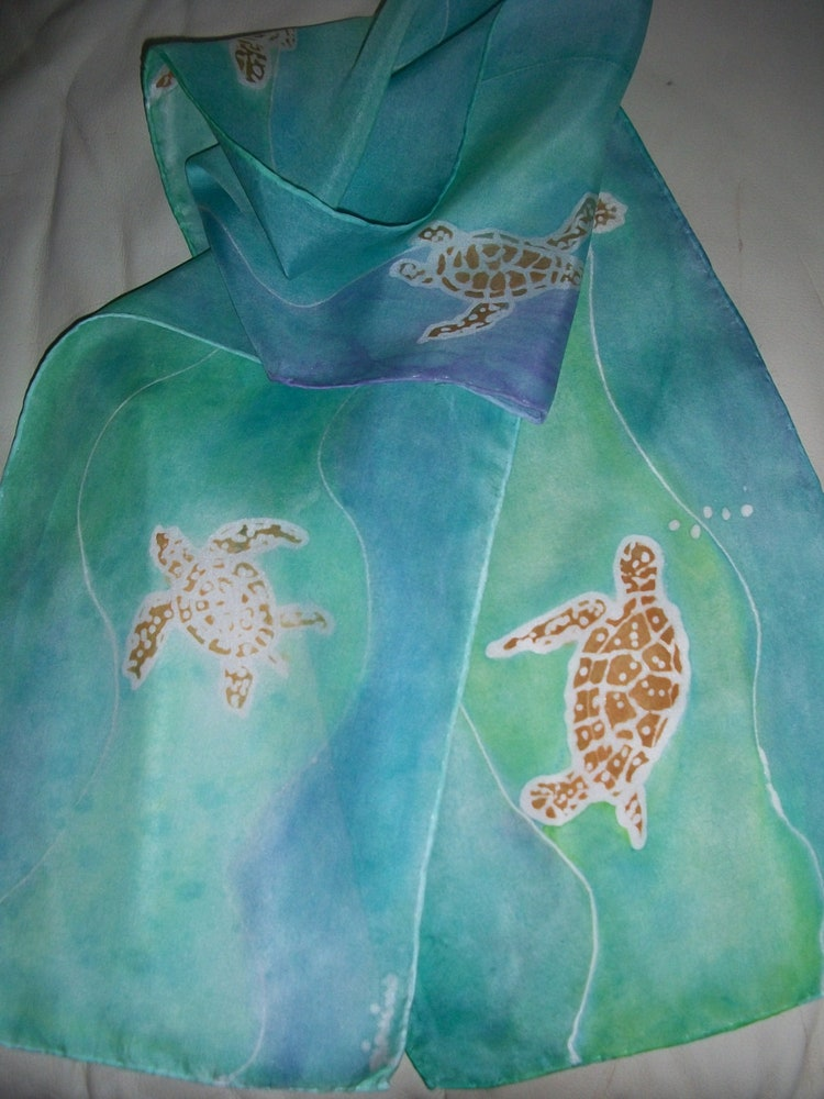 Swimming Sea Turtles 11 X 60 Hand Painted Silk By