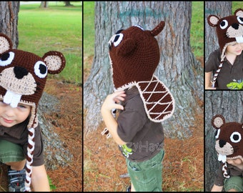 Crochet Beaver hat.Made to order.