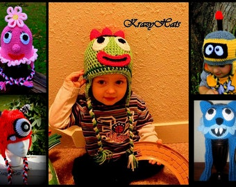 Crochet  hats.Pink flower hat,green monster,yellow robot,red monster,blue monster