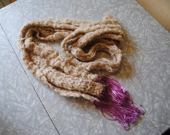 Beige and purple scarf