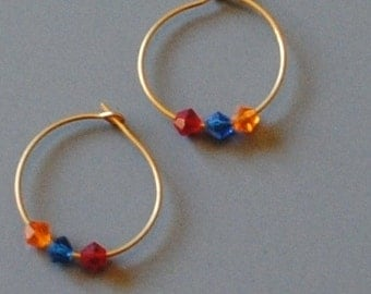 Red, orange and blue hoops