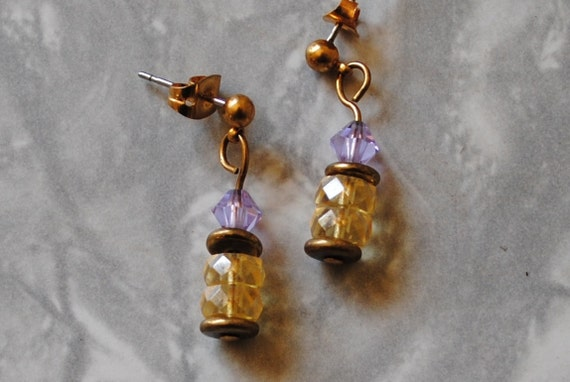 Lavender and yellow rondelle earrings