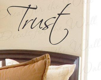 Trust Inspirational Home Motivational Living Room Faith God Wall Saying Quote Decal Decoration Lettering Sticker Vinyl Decor Art Letters W2