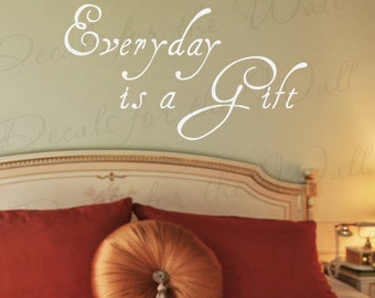 Everyday a Gift Life Inspirational Motivational Quote Sticker Decoration Art Mural Decor Adhesive Vinyl Large Wall Lettering Decal IN36