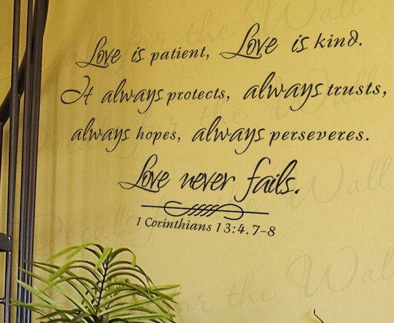 Love Patient Kind Protects Trusts Hope 1 Corinthians 13 Inspirational Home Religious God Bible Vinyl Quote Art Wall Decal Sticker Decor R6