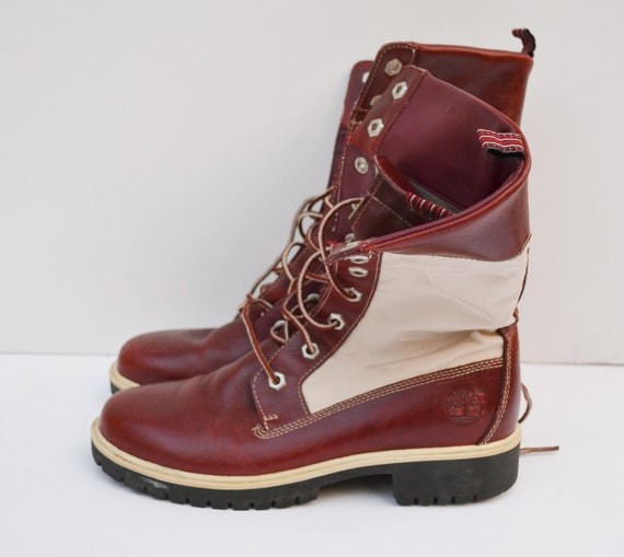 vintage white and brown leather boots by timberland womens