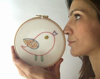 Hand embroidery hoop wall art, bird home decor,kids room decor,nursery decoration