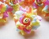 12 Light Rainbow mini Roses Heads - Artificial Silk Flower - 1.75 inches - Wholesale Lot - for Wedding Work, Make Hair clips, headbands