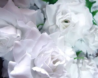 12 White Roses Artificial Silk Flower Heads - 3.75 inches - Wholesale Lot - for Wedding Work, Make Hair clips, headbands, hats
