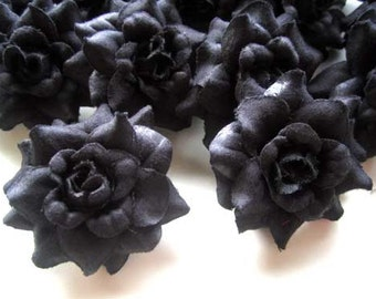 24 Black mini Roses Heads - Artificial Silk Flower - 1.75 inches - Wholesale Lot - for Wedding Work, Make Hair clips, headbands